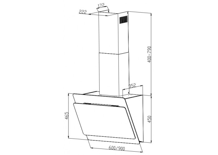 Built-in inclined hood INTERLINE BRAVO BL A/60/GL/K